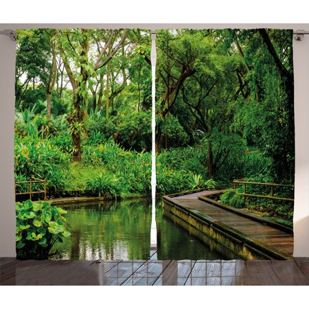 Pier 1 Bedroom - Jungle Curtains 2 Panels Set, Deep Forest with Wooden Pier and River Refreshing Exotic Nature Wild Image, Window Drapes for Living Room Bedroom, 108W X 63L Inches, Hunter Green Brown, by Ambesonne