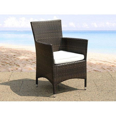 Set of 2 Modern Brown Wicker Dining Chairs with Cushion Seat for Patio Italy ()