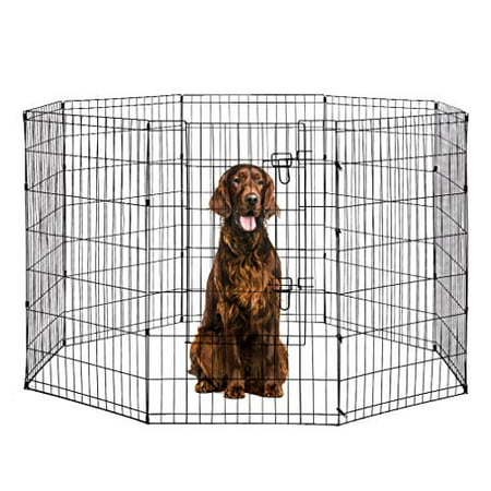 42-Black Tall Dog Playpen Crate Fence Pet Kennel Play Pen Exercise Cage -8 Panel