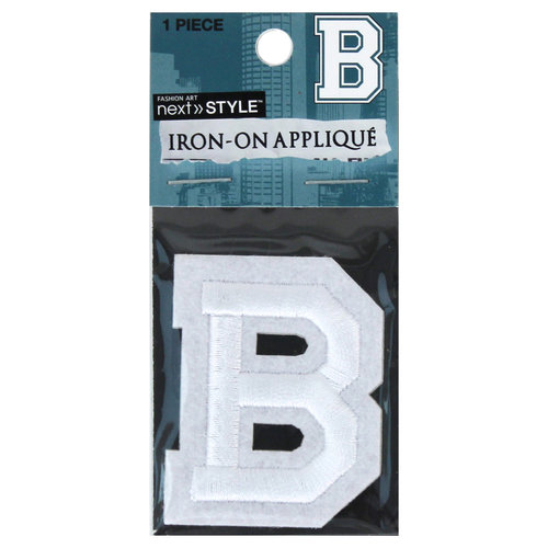 "Next Style Single Embroidery Letter, ""B"", White"