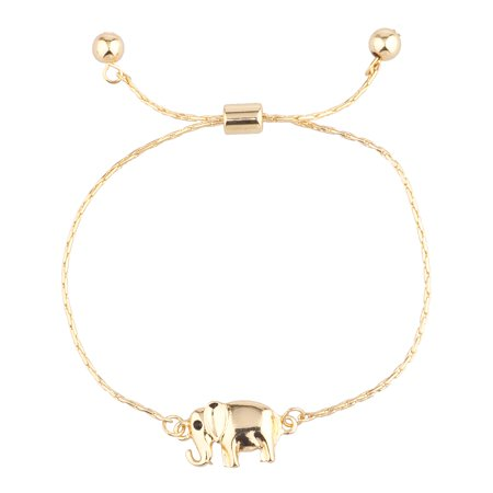 Lux Accessories Gold Tone Boho Elephant Good Luck Slider Draw String Bracelet