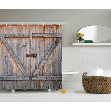 Country Decor Old Wooden Garage Door American Style Vintage Shower