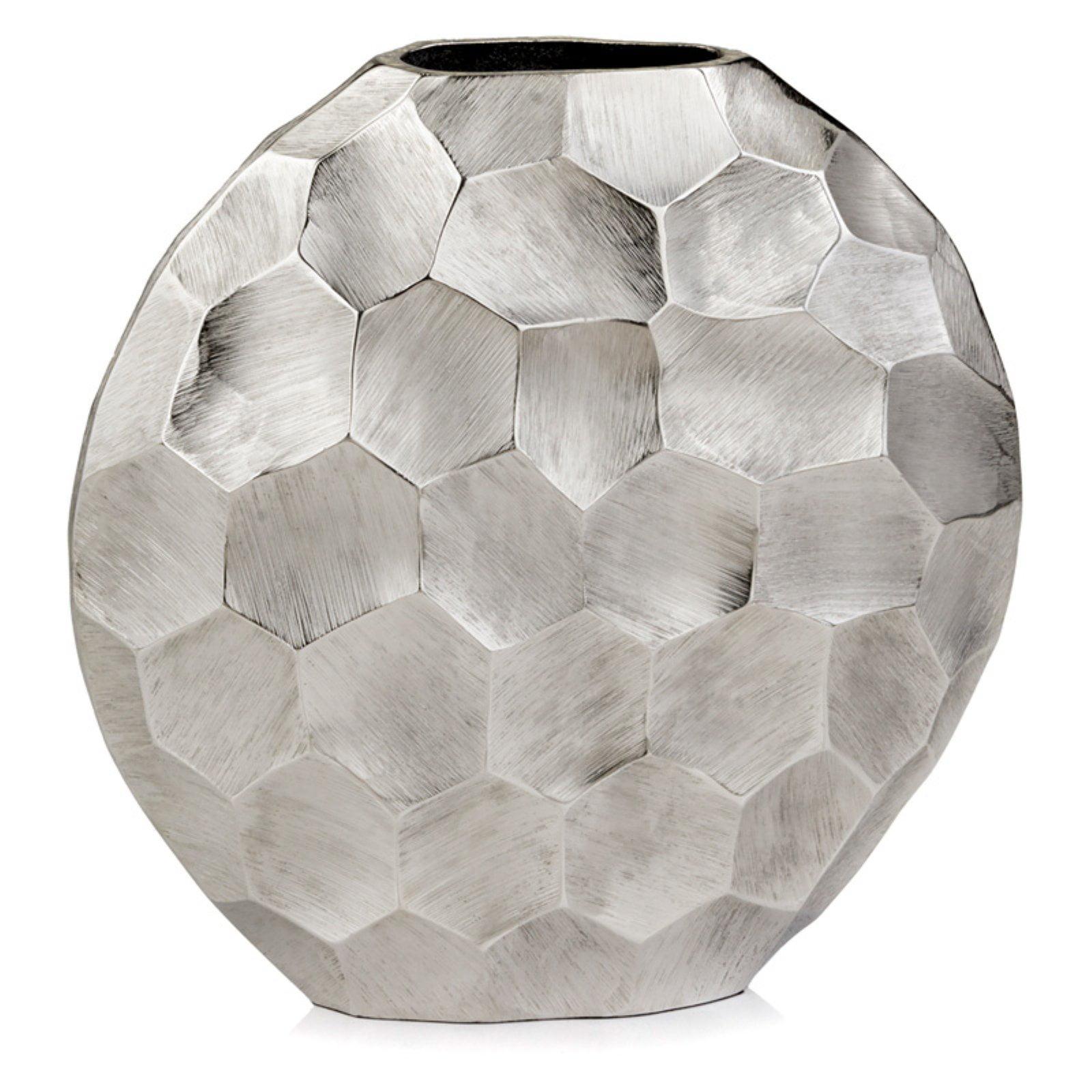 Modern Day Accent Faceado Round Silver Vase