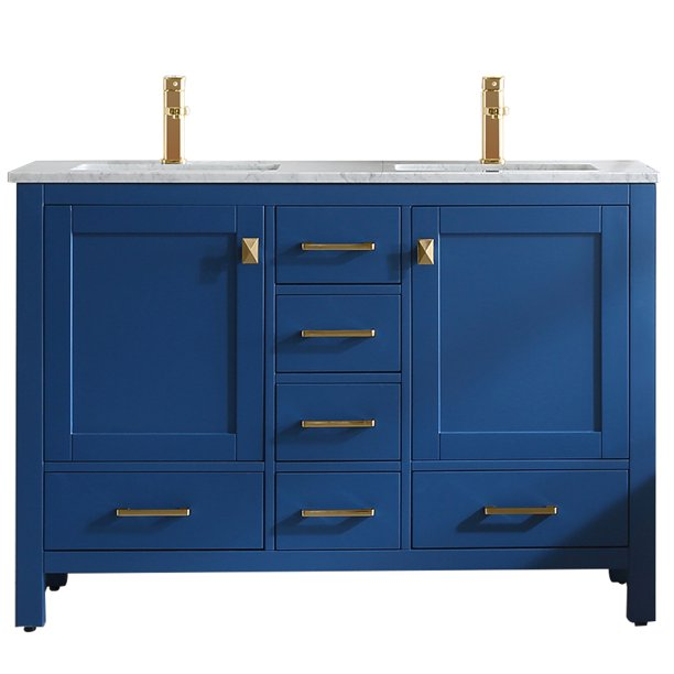 Eviva London 48 X 18 Blue Transitional Double Sink Bathroom Vanity W White Carrara Top Gold Handles Walmart Com Walmart Com