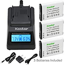 Kastar Ultra Fast Charger 3X faster Kit and Battery 3 Pack for Nikon EN EL23 MH 67 work with Nikon Coolpix P60