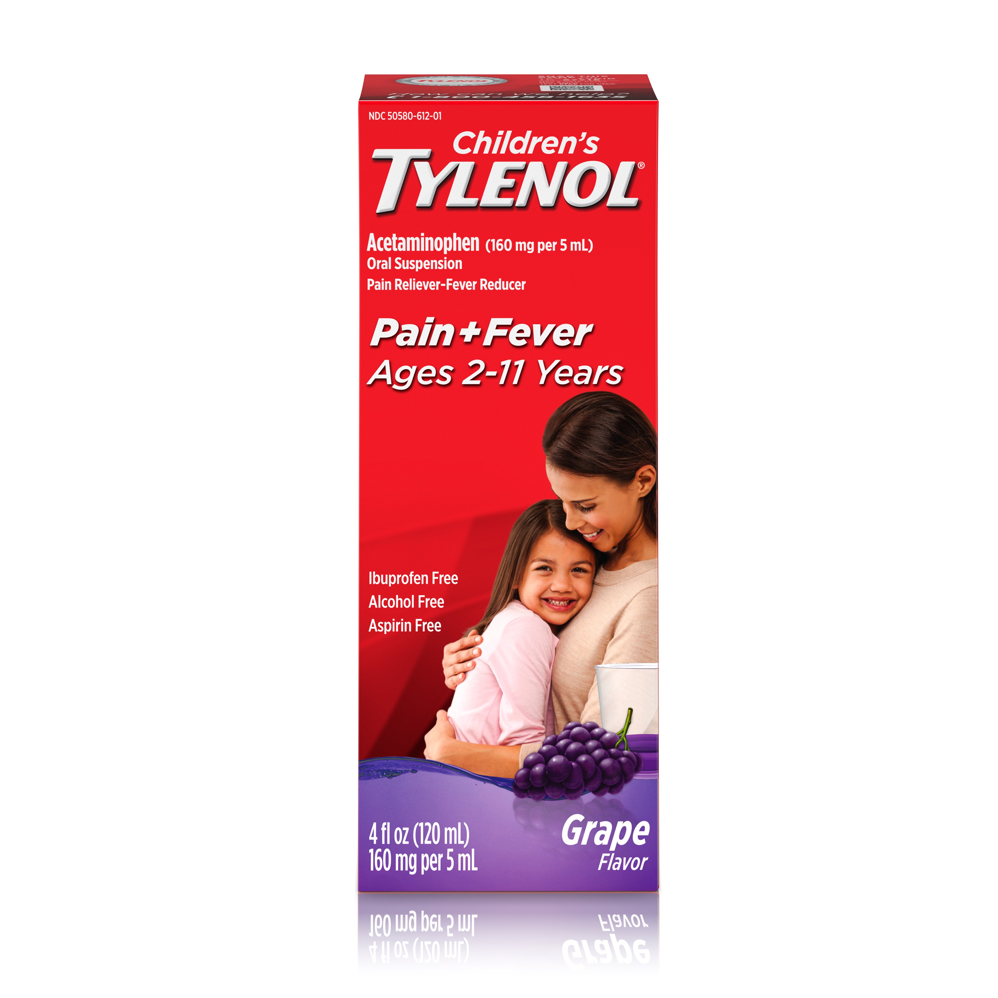 Children's TYLENOL® Oral Suspension, Fever Reducer and Pain Reliever, Grape, 4 fl oz