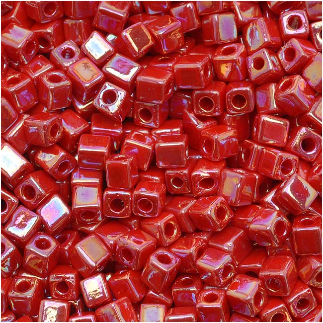 Miyuki 4mm Glass Cube Beads Opaque Red AB 10 Grams