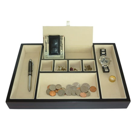 Wood Valet - Ebony Wood Valet Tray & Coin Tray Catchall for Keys, Coins, Phone, Jewelry, Accessories and More