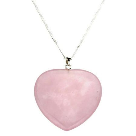 Large Rose Quartz Stone Heart Pendant Sterling Silver Curb Chain Necklace, 20