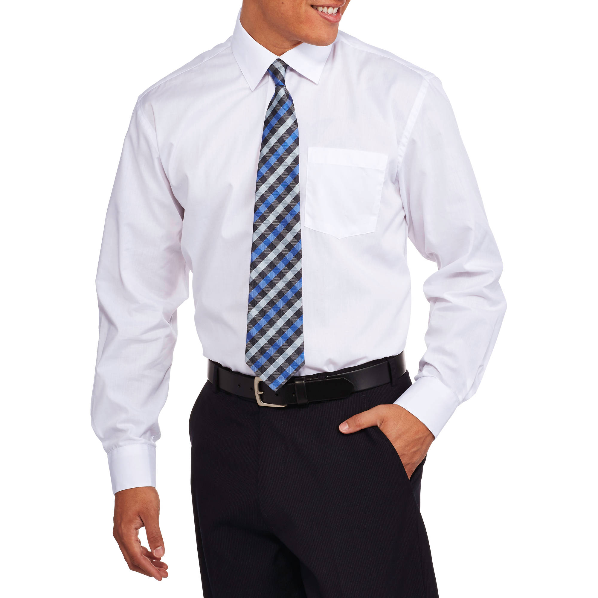 Men's 2-Piece Solid Dress Shirt and Tie Set