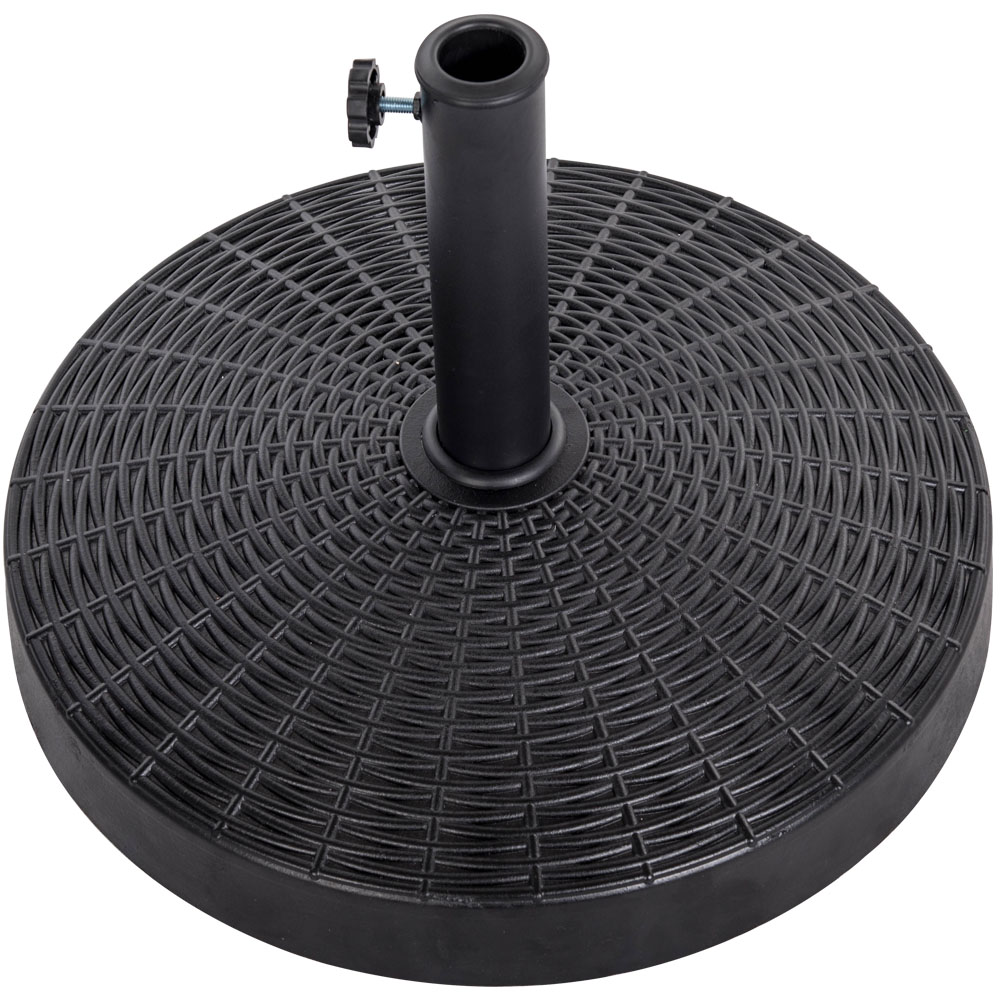 Sundale Outdoor Bliss Wicker Resin Black Patio Umbrella Base Metal Heavy Duty Stand