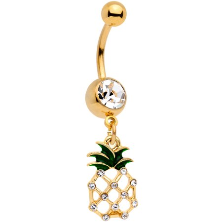 - Body Candy 14G Gold Tone PVD Steel Navel Ring Piercing Clear Accent Pineapple Belly Button Ring 7/16""
