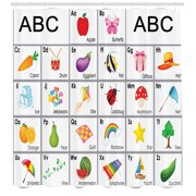 Funny Educational Alphabet Xylophone Ladybug Zucchini Drum Kids Shower Curtain