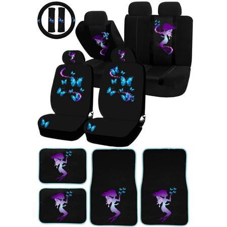 26PC Fairy Butterfly Magical Purple Blue Universal Seat Covers Carpet Floor Mats Set Car Truck