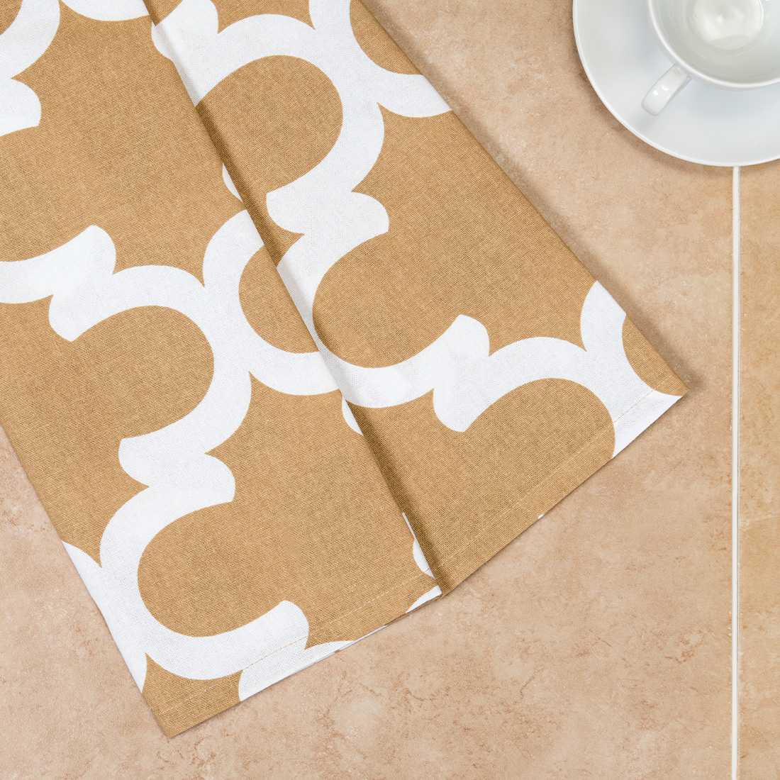 18 x 28 in. Latte & White Trellis Kitchen Towels 2 pack by