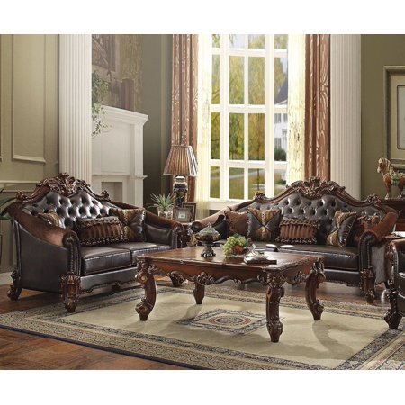 Acme Vendome II Loveseat with 3 Pillows in Dark Brown and Cherry Finish 53131 Dark Brown Cherry Finish