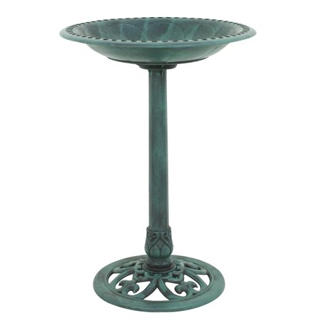Zeny Antique Green Pedestal Freestanding Bird Bath Feeder Outdoor Garden Yard Decor ()
