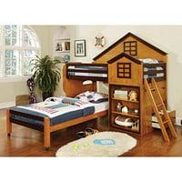 Citadel House Design Oak & Walnut Finish Dual Twin Size Loft Bed Set