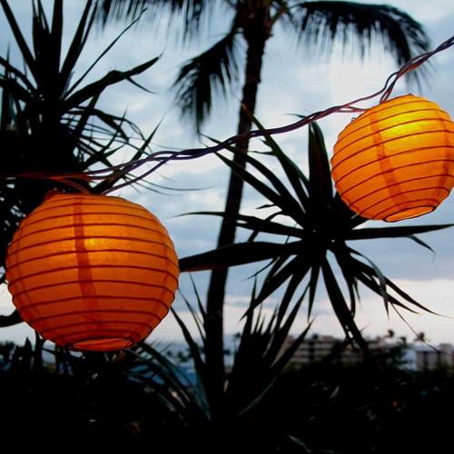 Paper Lanterns String Lights 4 inch Round Paper Lanterns 8.3 feet Orange