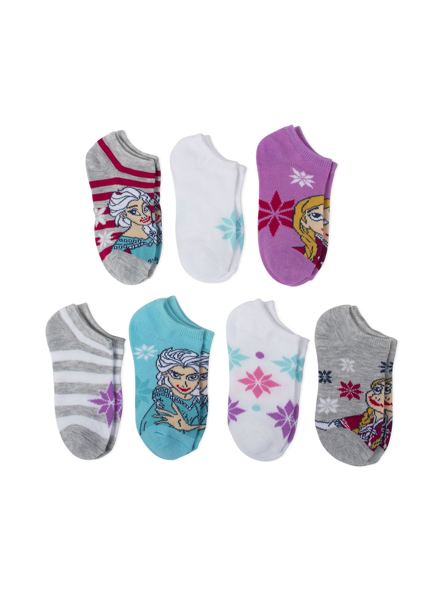 Frozen No Show Socks, 5 + 2 Bonus Pack (Little Girls & Big Girls)