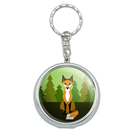 Geometric Orange Fox Portable Ashtray Keychain