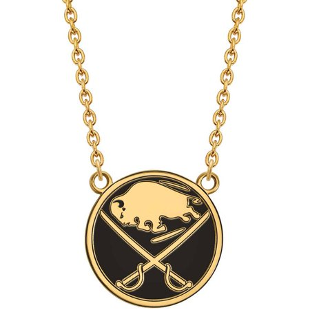 LogoArt NHL Buffalo Sabres 14kt Gold-Plated Sterling Silver Large Enameled Pendant with Necklace