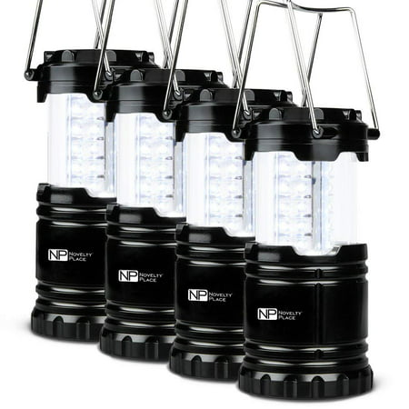 4 Pack Portable LED Camping Lantern, Novelty Place [Heavy Duty & Waterproof] Outdoor Hiking Gear Lights - Ultra Bright Compact Size - Battery Powered Emergency Flashlight ()