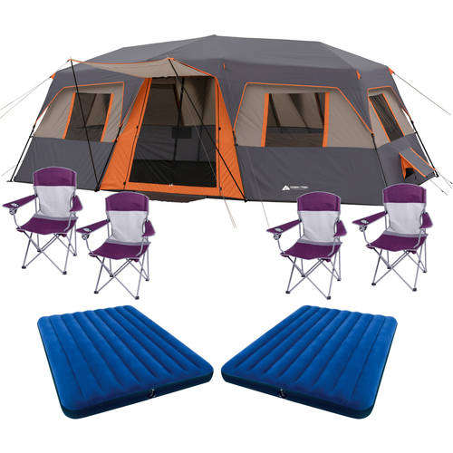 Ozark Trail 12-Person Instant Tent with 4 Chairs and 2 Airbeds Value Bundle