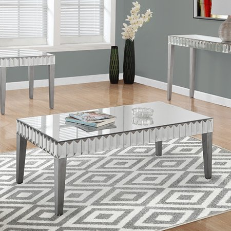 Monarch Coffee Table 48 X 24 Brushed Silver Mirror