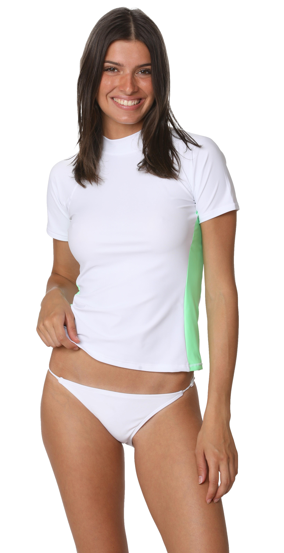 Ingear Ladies Rash Guard Medium, White//Seafoam