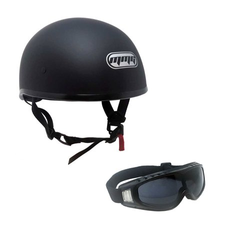 Motorcycle Half Helmet Cruiser DOT - LARGE Matte Black with Smoked Goggles 883