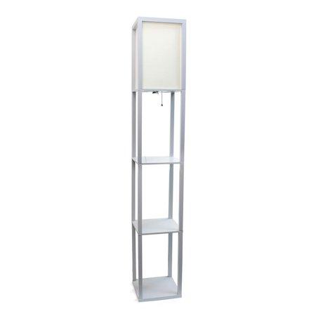 Simple Designs Floor Lamp Etagere Organizer Storage Shelf with Linen Shade