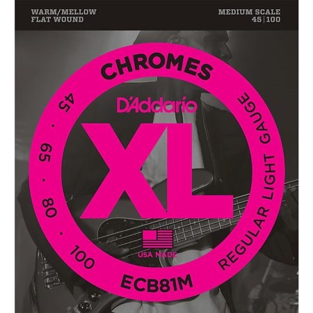 D'Addario ECB81M Chromes Flat Wound Electric Bass Strings Light Medium