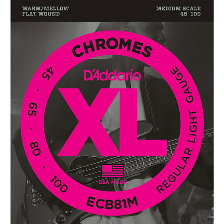 D'Addario ECB81M Chromes Flat Wound Electric Bass Strings Light Medium Scale Daddario Chrome Bass Strings