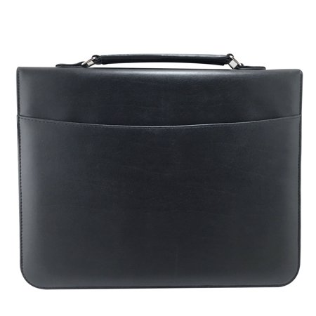 Additional Zippered Pockets - MSP Professional Portfolio Briefcase with Smart Handle ,Binder Sleeve Pockets, Zipper Closure, PU leather (MSP043-BLACK)