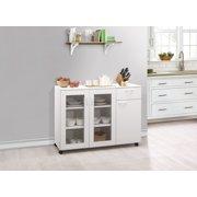 Gremlin Wheeled Kitchen Storage Sideboard Buffet Cabinet, White Wood