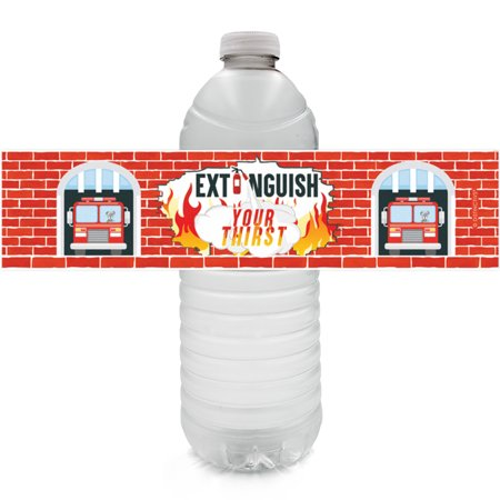 Firefighter Party Water Bottle Labels 24ct - Fireman Fire Truck Birthday Party Supplies Fire Extinguisher Party Favors Decorations - 24 Count Sticker Labels 24 Count: WATERPROOF Firefighter Party Water Bottle Labels to use as part of your Firefighter Birthday Party Supplies. (Water bottles not included).3 sticker sheets included - total of 24 sticker labels. Labels wrap around most standard size water bottles, 8.5in x 2in - water bottles NOT included. Use to make fireman theme birthday party favors as part of your firefighter party decorations. Designs are laser printed on these labels - no ink smudging, no mess. Labels are easy to peel from sticker sheet - high quality. Unique DISTINCTIVS Firefighter Birthday party supplies design. Featuring fireman and fire truck designs on red brick with Extinguish Your Thirst wording and fire extinguisher party designs. WATERPROOF - chill in ice or fridge before your firetruck theme party without any damage to the labels. Keep birthday party guests hydrated in style, great for kids. Water bottles NOT included.