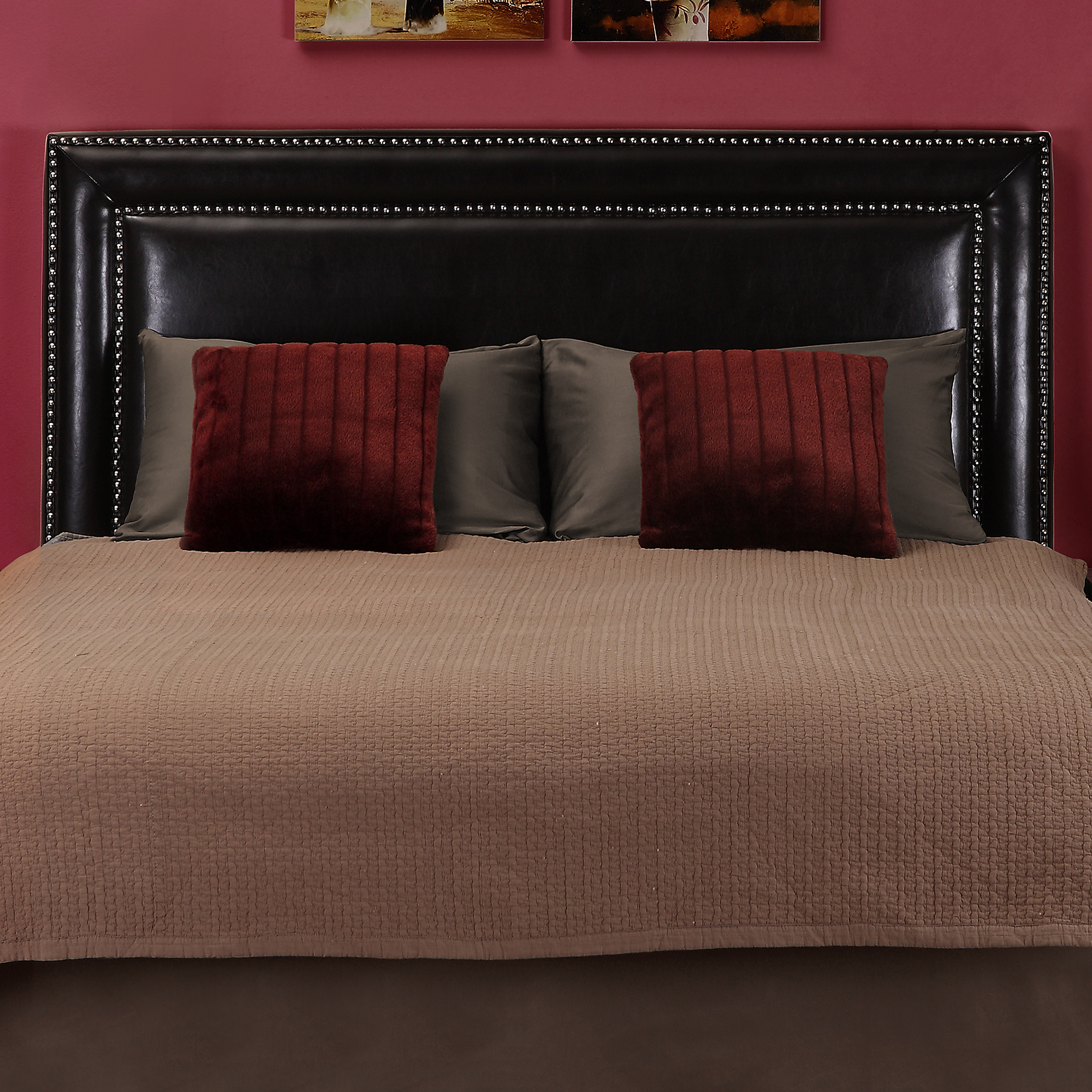 Dorel Living Evanston Faux Leather Full/Queen Headboard with Nailheads, Espresso