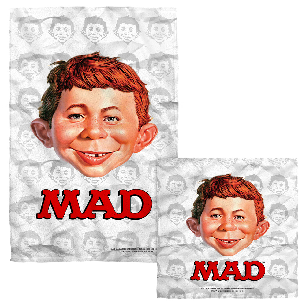 Mad Alfred Head Face Hand Towel Combo White
