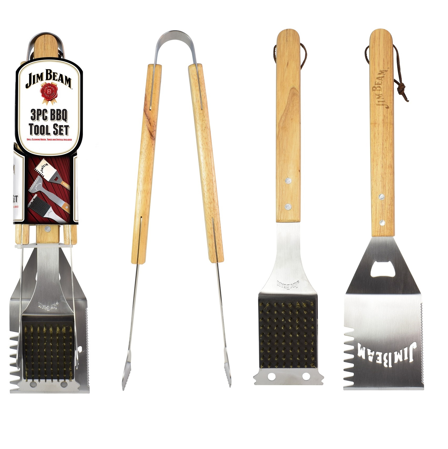 Jim Beam 3-Piece Barbecue Tool Set with Stainless Steel Cleaning Brush