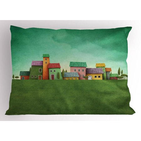 Mural Pillow Sham A Village of Abstract Shaped Colorful Houses and Bushy Trees on Greenery Grass Field, Decorative Standard Size Printed Pillowcase, 26 X 20 Inches, Multicolor, by Ambesonne ()