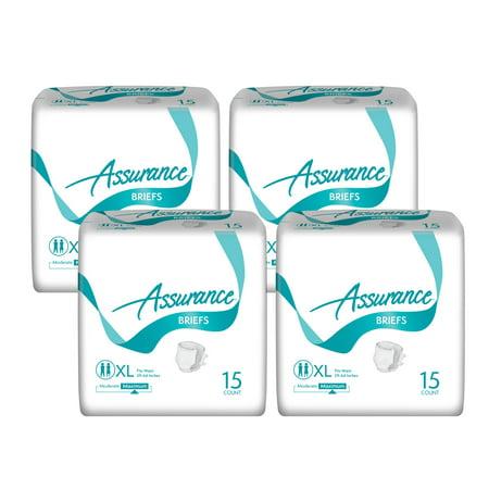 Assurance Incontinence Briefs Unisex, XL, Maximum, 15 Ct, 4 Pks, 60 Total ()