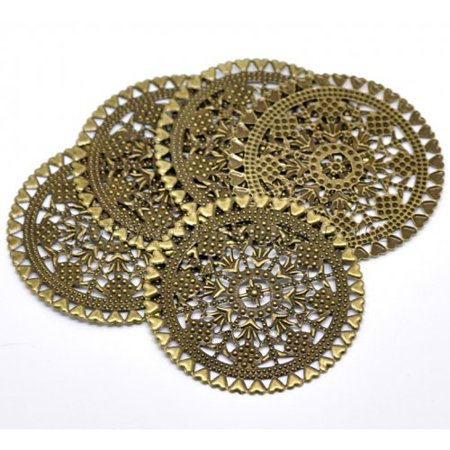 Components Focal Access (38 Antique Brass Filigree Flowers Hearts Focal Components 60mm 2 3/4 Inch )
