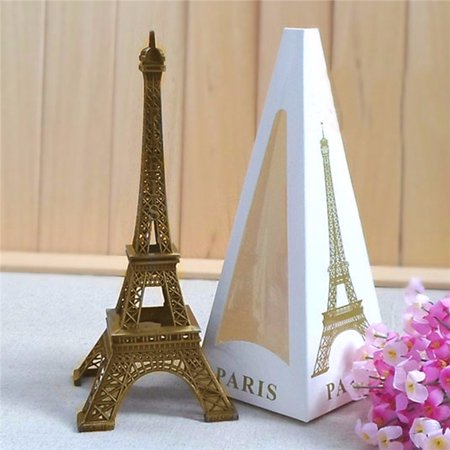 - 6.0'' 15cm Bronze Tone Paris Eiffel Tower Figurine Statue Vintage Alloy Model Decor