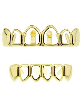 14K Gold Plated Grillz Set Four Open Face Upper Top And 4 Bottom Lower Teeth Hollow Hip Hop Grills
