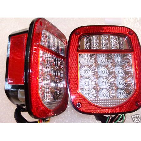 Jeep TJ YJ CJ Tail Lights Clear Lens Red LED