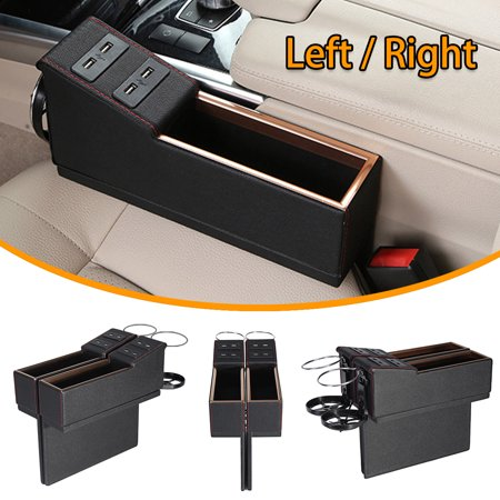 Multi-fuctional Car Seat Leather Storage Box, 4 USB Ports Console Side Slit Pocket, Gap Catcher with Coin Organizer and Cup Holder