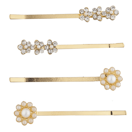 Lux Accessories Gold Tone Pearl Rhinestone Floral Flower Hair Clip Set 4pcs