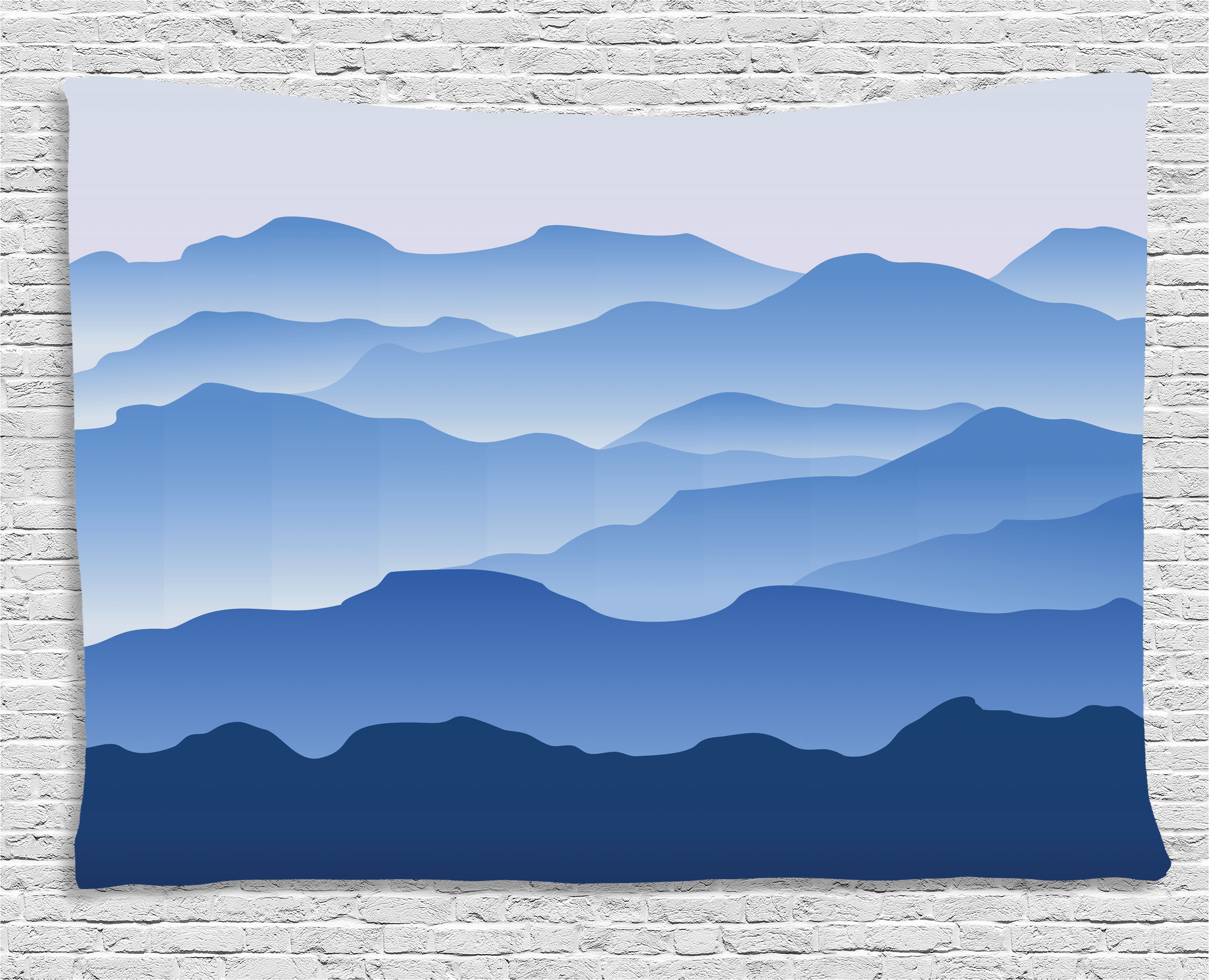 Apartment Decor Tapestry, Nature Theme A Panoramic Silhouette of the Mountains in the Morning Illustration,... by Ambesonne
