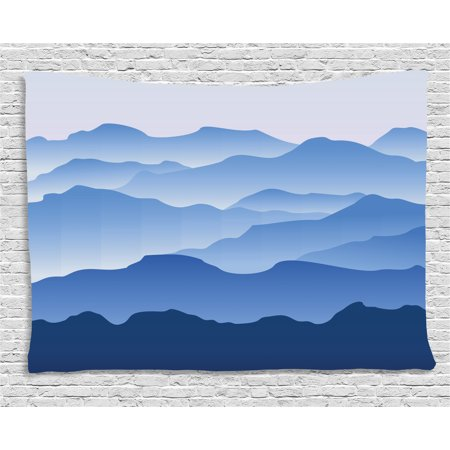 Apartment Decor Tapestry, Nature Theme A Panoramic Silhouette of the Mountains in the Morning Illustration, Wall Hanging for Bedroom Living Room Dorm Decor, 60W X 40L Inches, Blue, by Ambesonne